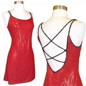 Vintage 80s 90s Red Sequin Party Prom Slip Dress S